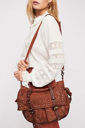 Studded Distressed Messenger Bag