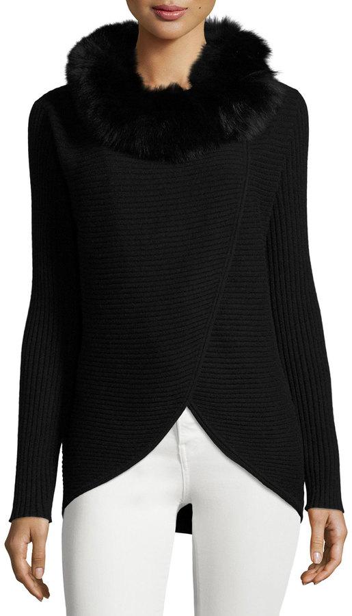 Neiman Marcus Cashmere Fur-Trim Wrap Tunic, Black