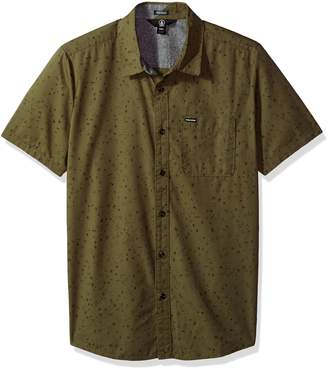 Volcom Men's Smashed Start Button up Short Sleeve Shirt