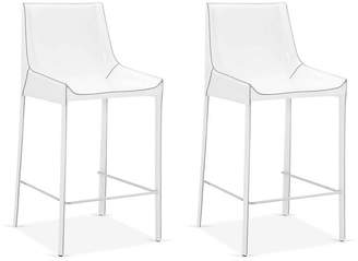One Kings Lane Set of 2 Conrad Counter Stools - White Leather