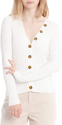 Milk and Honey Button Neck Rib Fitted Top
