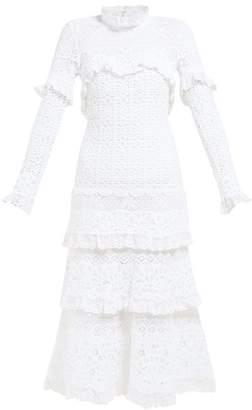 Jonathan Simkhai Ruffled Crochet Lace Dress - Womens - White