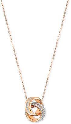 Swarovski Double Ring Pave Pendant Necklace