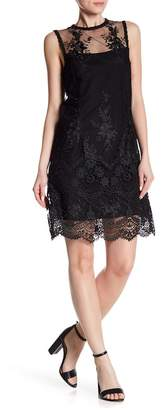 Nanette Lepore NANETTE Lorenzo Illusion Neck Embroidered Dress