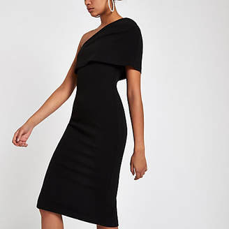 River Island Black one shoulder cape bodycon dress