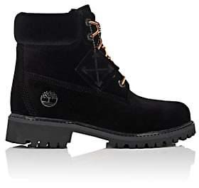 Off-White Women's 6-Inch Velveteen Boots-Black