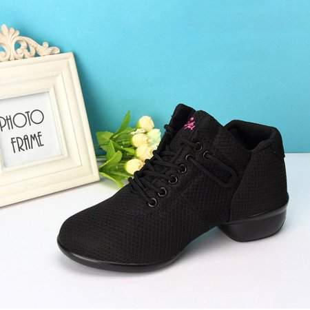 OUTAD Black Soft Bottom Breathable Ladies' Dance Shoes With Net Vamps Increased Elastic Band Wedges Mesh Modern Square Dancing Sneakers