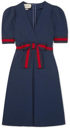 Gucci Grosgrain-trimmed Stretch-ponte Mini Dress - Navy