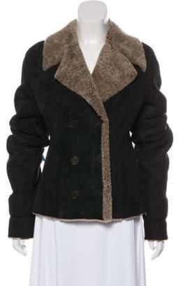 Calvin Klein Collection Suede Shearling-Trimmed Jacket Black Suede Shearling-Trimmed Jacket