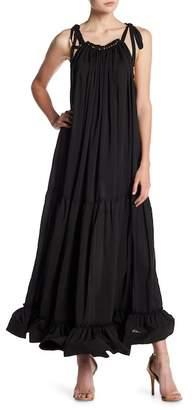 Why Dress Halter Neck Ruffled Maxi Dress