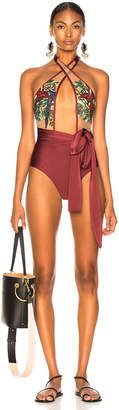 PatBO Embroidered Cross Front One Piece in Purple   FWRD