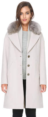 Soia & Kyo CHRISTELLE-FX relaxed fit wool coat with removable fur trim