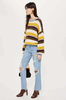 Topshop Womens Bleach Raw Hem Ripped Straight Jeans - Bleach Stone