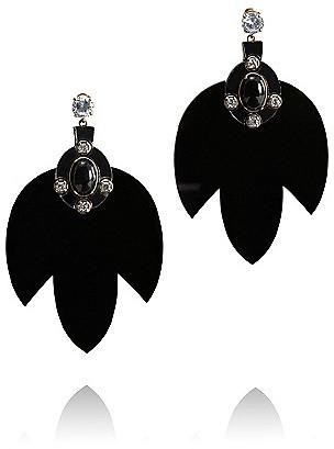 Tory Burch Multi Jeweled Leaf Dangle Earring