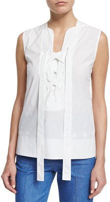 Derek Lam Sleeveless Lace-Up Blouse, White $695 thestylecure.com