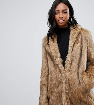 Asos Tall DESIGN Tall stand collar faux fur coat
