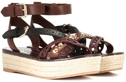 Burberry  Burberry Malthouse leather espadrille platform sandals
