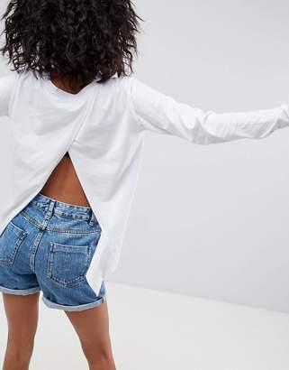 Asos Design Split Back Top With Long Sleeves