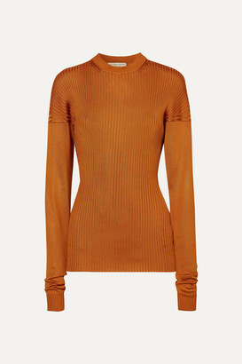 Bottega Veneta Paneled Ribbed Silk Sweater - Orange