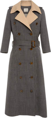 Khaite Charlotte Houndstooth Wool-Tweed Trench Coat