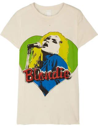 MadeWorn - Blondie Distressed Printed Cotton-jersey T-shirt - Ecru