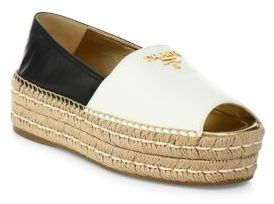 Prada Two-Tone Leather Peep Toe Platform Espadrilles $595 thestylecure.com