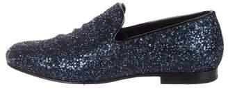 Jimmy Choo Sloane Glitter Smoking Slippers
