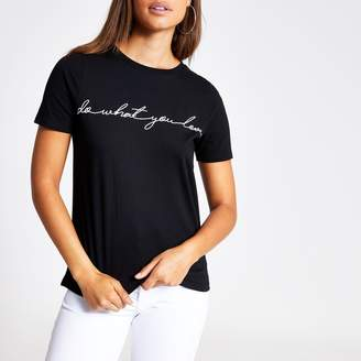 River Island Womens Black 'Do What You Love' print T-shirt