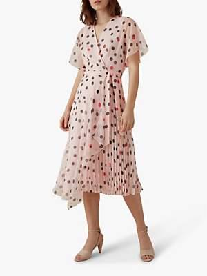 Karen Millen Polka Dot Dress, Pink/Multi
