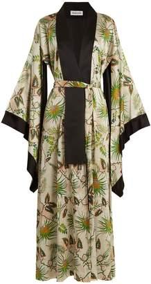 ADRIANA IGLESIAS Anna reversible tropical-print stretch-silk robe