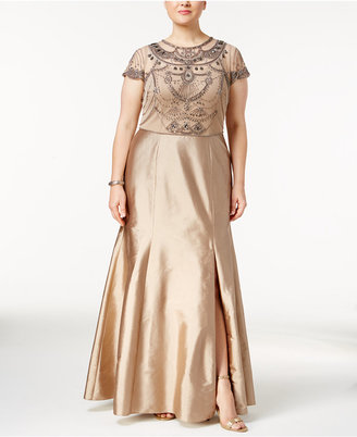 Adrianna Papell Plus Size Beaded Popover Gown $349 thestylecure.com