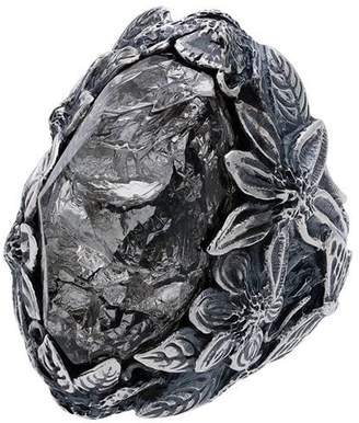 Lyly Erlandsson silver Winter Plat Leaf chunky silver ring