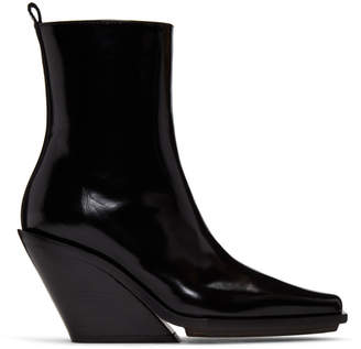 Ann Demeulemeester Black Patent Wedge Boots