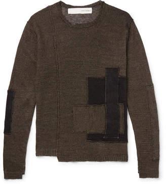 Isabel Benenato Patchwork Distressed Linen Sweater
