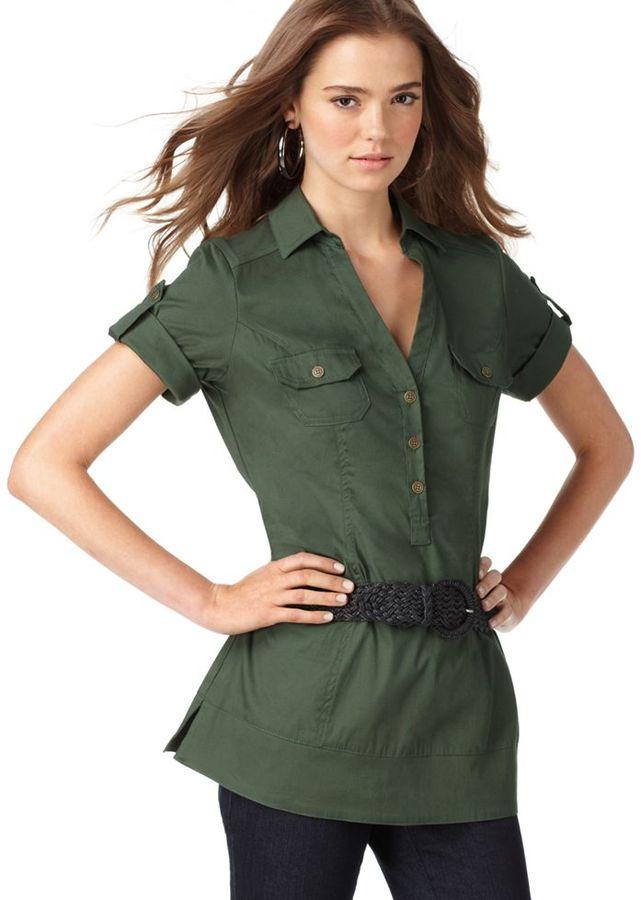 L8ter Top, V-Neck Short Sleeve Pocket with Braided Belt