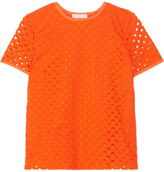 Tory Burch Hermosa Broderie Anglaise And Cotton-jersey Top - Bright orange