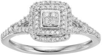 Hallmark Sterling Silver 1/3 Carat T.W. Diamond Cluster Square Halo Ring