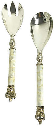 One Kings Lane Vintage Mother-of-Pearl Serving Tongs - Set of 2 - Uptown Found