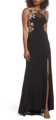 Blondie Nites Embellished Sheer Back Knit Gown