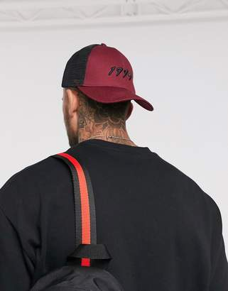 Asos Design DESIGN trucker hat in burgundy with 1994 embroidery