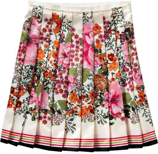 Women's Floral Satin Pleated Skirt