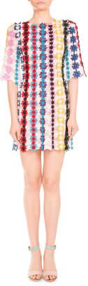 Mary Katrantzou Half-Sleeve Guipure Lace Shift Dress, Multi