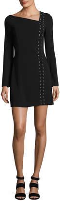 A.L.C. Luca Lace-Up Asymmetric-Neck Long-Sleeve Crepe Dress