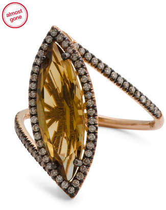 Made In Usa 18k Rose Gold Diamond And Citrine Ring