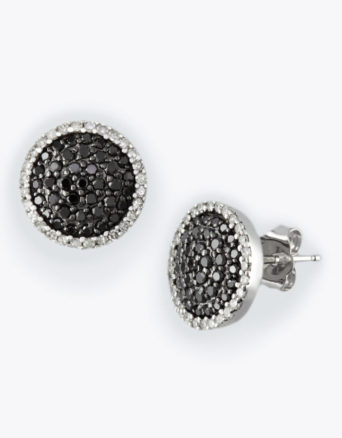 EFFY COLLECTION Black Diamond Stud Earrings in 14 Kt. White Gold, 0.74 ct. t.w.