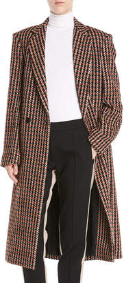 Derek Lam One-Button Houndstooth Plaid Easy-Fit Caban Coat
