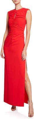 Halston High-Neck Sleeveless Crepe Gown with Ruched Keyhole