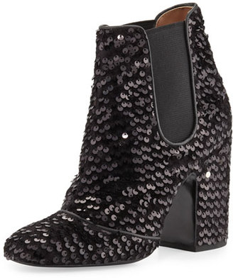 Laurence Dacade Mila Sequined 100mm Chelsea Boot, Black $1,030 thestylecure.com