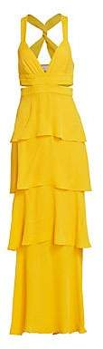 A.L.C. Women's Lita Silk Tiered Ruffle Maxi Dress - Size 0