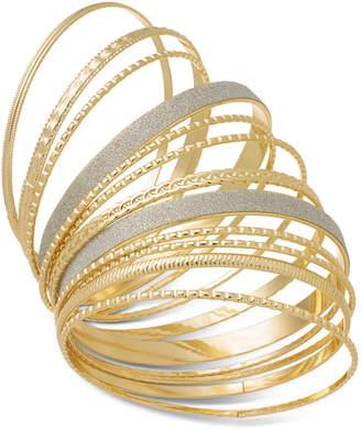 Thalia Sodi Gold-Tone 12-Pc. Set Glitter Bangle Bracelets, Created for Macy's